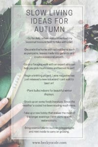 slow living ideas for autumn